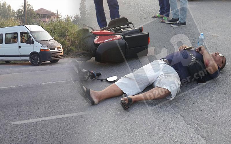 Elektrikli bisiklet sürücüsü düştüğü yerde kaldı