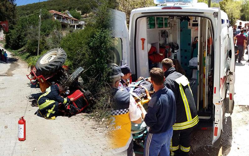 Traktör kazasında mucize kurtuluş