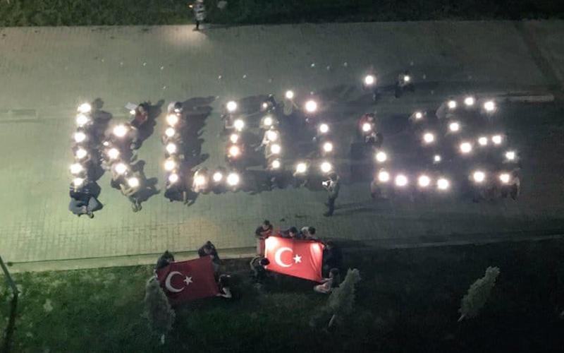 KYK Yurdu'ndaki öğrencilerden İsrail'e protesto