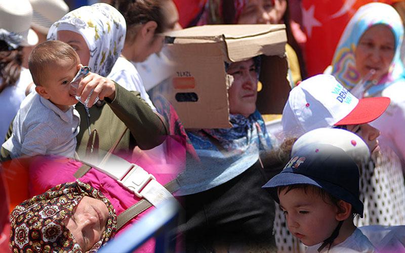 Erdoğan'ın mitinginden sıcağı anlatan totoğraf kareleri
