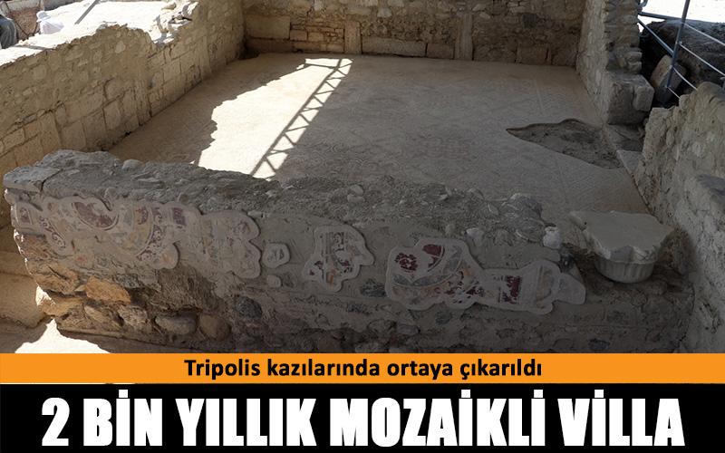 Tripolis kazılarında 2 bin yıllık mozaikli villa bulundu