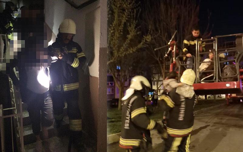 Yangında mahsur kalan hamile ve bebekli kadınları itfaiye kurtardı