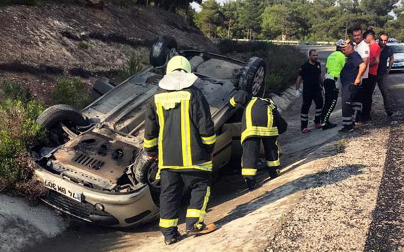 Otomobil kanala yuvarlandı