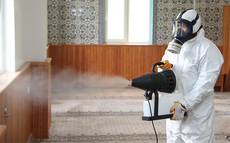 Merkezefendi'de camiler yeniden dezenfekte ediliyor
