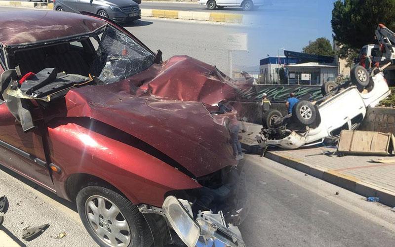 Takla atan pikap,  karşı şeride geçip otomobile çarptı: 4 yaralı