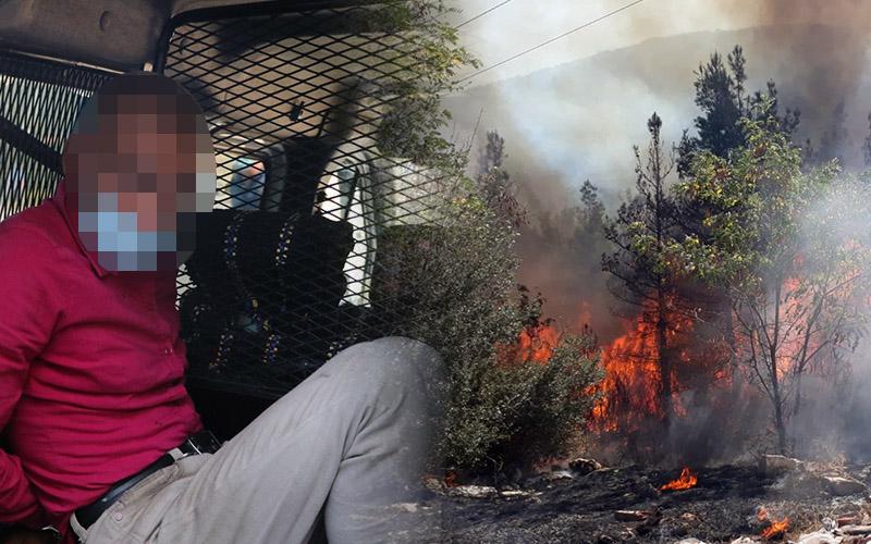 Ormanı ateşe veren kundakçı yakalandı