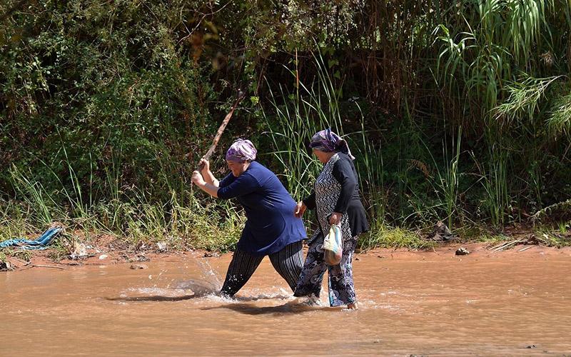 Menderes Nehri'nde sopa ve sepetlerle balık avladılar