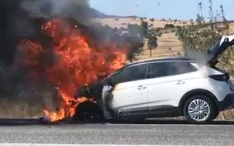 Lüks araç alev alev yandı, sahibinin çabası yetmedi