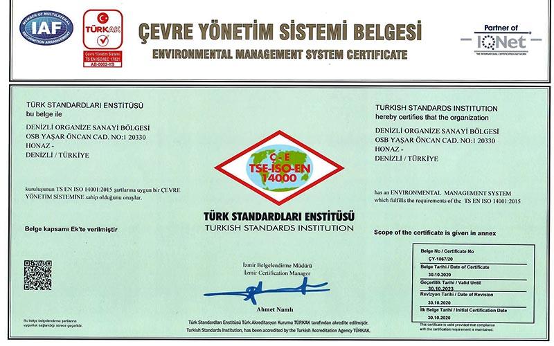 Denizli OSB Çevre Yönetim sistemi Belgesi aldı