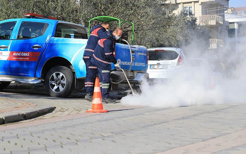 Pamukkale Belediyesi ekiplerinden sivrisinekle mücadele için ilaçlama çalışması