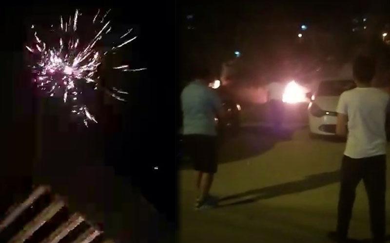 Gençlerin havai fişekle kontrolsüz eğlencesi yangın çıkardı