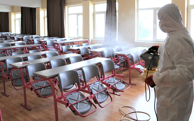 ALES öncesi ilçedeki okullar dezenfekte edildi