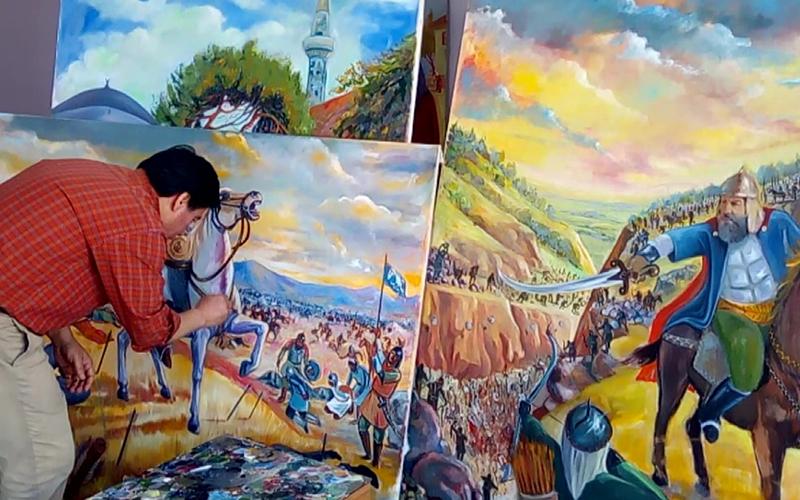 Ressam Kara Denizli'nin savaşlarını resmetti