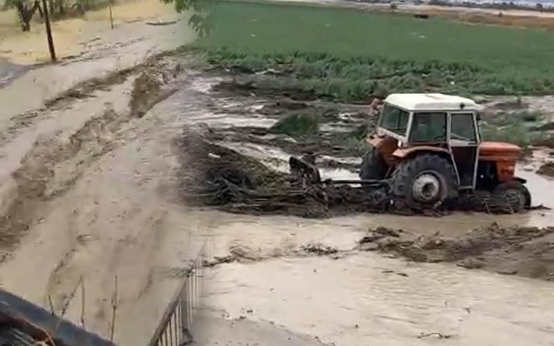Sağanak yağış sonrası mahalleyi ve ekili alanları sel bastı