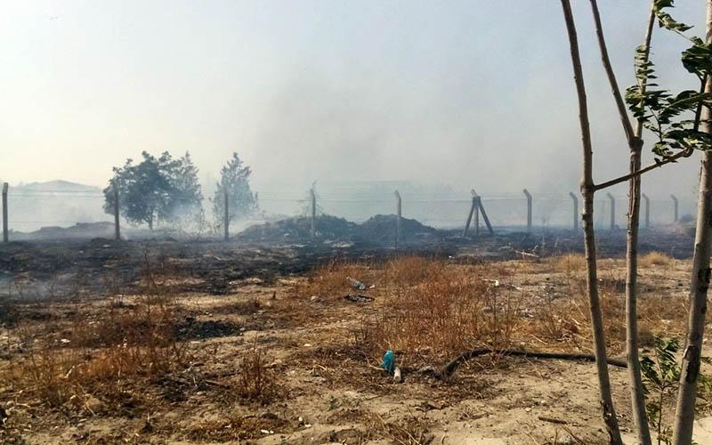 Anız yangını çıktı, fabrika işçileri dumandan etkilendi