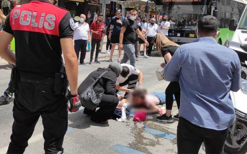 Moto kuryenin çarptığı genç kız yaralandı