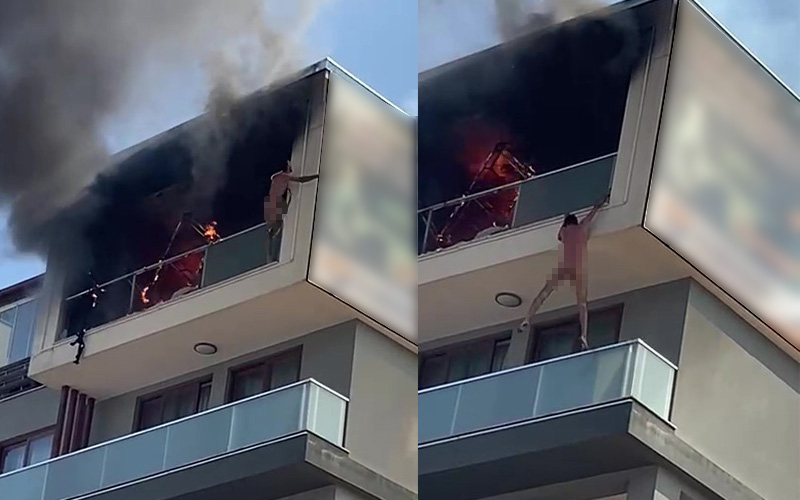Yangında mahsur kaldı, canını kurtarmak için çıplak olarak balkondan atladı