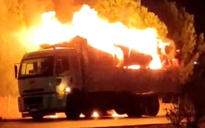 Tomruk yüklü kamyon seyir halindeyken alev aldı