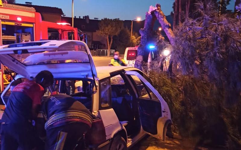 Otomobil ağacı ikiye böldü: 4 yaralı